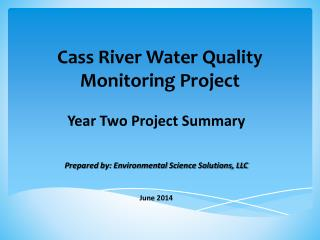 Cass River Water Quality Monitoring Project