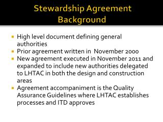 Stewardship Agreement Background