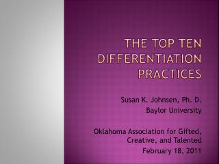 The Top Ten Differentiation Practices