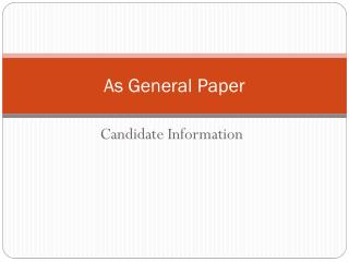 As General  Paper