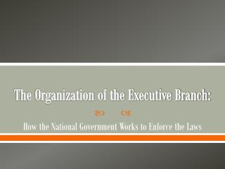 The Organization of the Executive Branch: