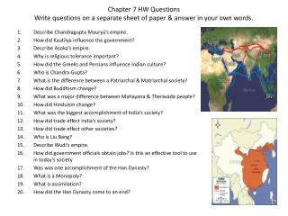 Chapter 7 HW Questions Write questions on a separate sheet of paper & answer in your own words.