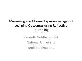 Measuring Practitioner Experiences against Learning Outcomes using Reflective Journaling