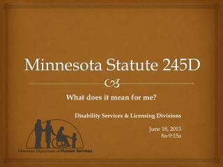 Minnesota Statute 245D