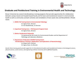 Graduate and Postdoctoral Training in Environmental Health and Technology