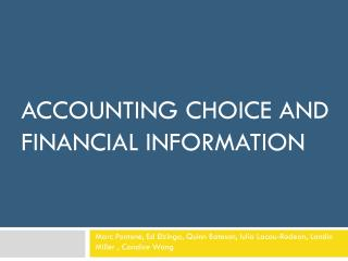 Accounting Choice and Financial Information