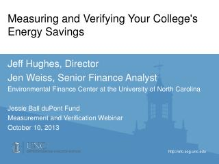 Measuring and Verifying Your College's Energy Savings