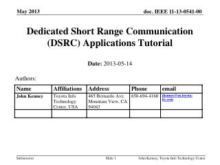 Dedicated Short Range Communication (DSRC) Applications  Tutorial