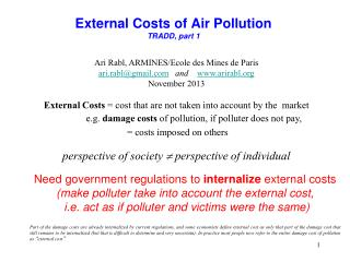 External Costs of Air Pollution TRADD, part 1