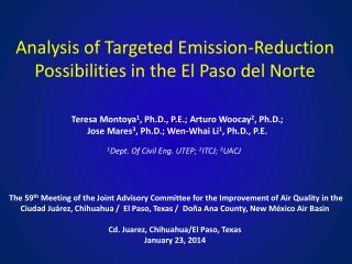 Analysis  of Targeted Emission-Reduction Possibilities in the El Paso del  Norte