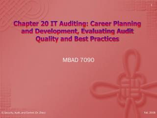 Chapter  20 IT  Auditing: Career Planning and Development, Evaluating Audit Quality and Best Practices