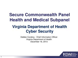 Secure Commonwealth Panel Health and Medical Subpanel