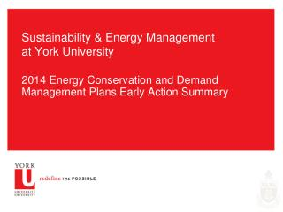 Sustainability & Energy Management at York University