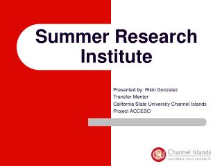 Summer Research  Institute