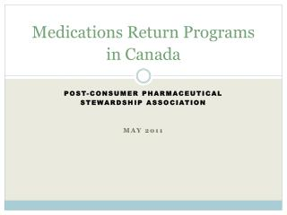 Medications Return Programs in Canada