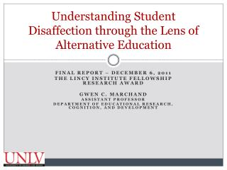 Understanding Student Disaffection through the Lens of Alternative Education