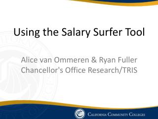 Using the Salary Surfer Tool