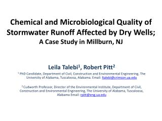 Chemical and Microbiological Quality of  Stormwater Runoff Affected by Dry  Wells;  A  Case Study in Millburn, NJ