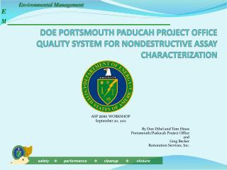 DOE PORTSMOUTH PADUCAH PROJECT OFFICE QUALITY SYSTEM FOR NONDESTRUCTIVE ASSAY CHARACTERIZATION