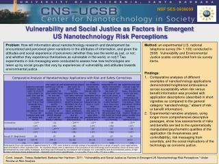Vulnerability and Social Justice as Factors in Emergent  US Nanotechnology Risk Perceptions