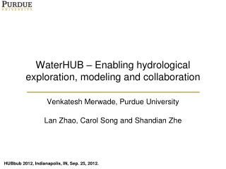 WaterHUB  –  Enabling hydrological exploration, modeling and collaboration