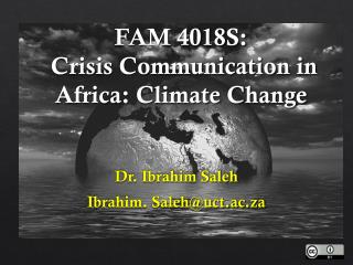 FAM 4018S:  Crisis Communication in Africa: Climate Change