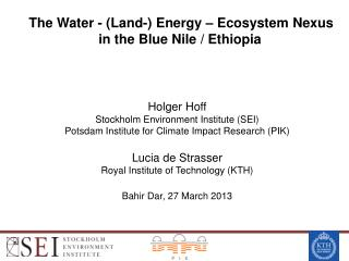 The  Water  - (Land-)  Energy  –  Ecosystem Nexus i n  the  Blue  Nile  /  Ethiopia