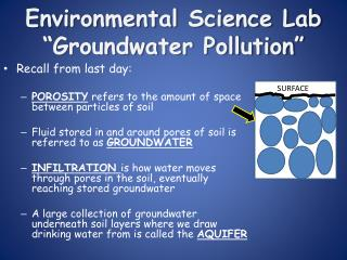 "Environmental Science Lab   ""Groundwater  Pollution """