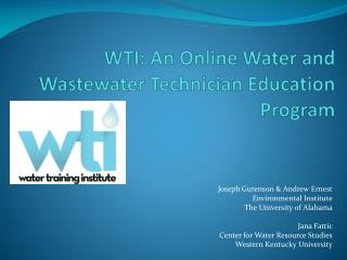 WTI: An Online Water and Wastewater Technician Education Program
