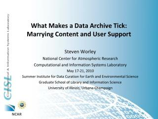 What Makes a Data Archive Tick:  Marrying Content and User Support