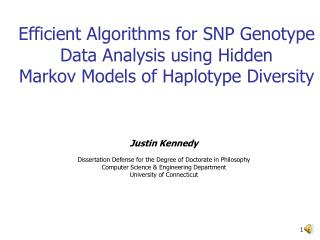 Efficient Algorithms for SNP Genotype Data Analysis using Hidden Markov Models of Haplotype Diversity