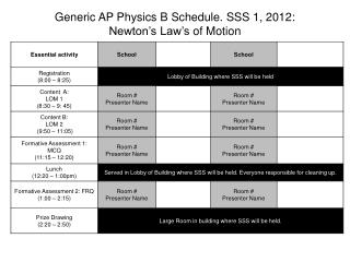 Generic AP Physics B Schedule. SSS 1, 2012:  Newton's Law's  of Motion