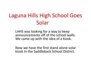 Laguna Hills High School Goes Solar