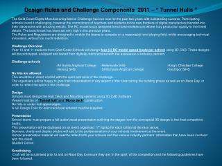"Design Rules and Challenge  Components  2011  – "" Tunnel Hulls """
