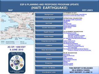 ESF-8 PLANNING AND RESPONSE PROGRAM UPDATE (HAITI  EARTHQUAKE)