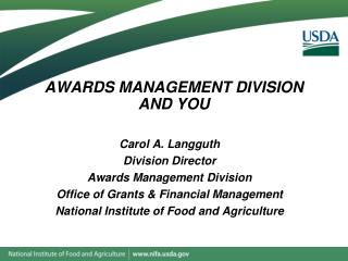 AWARDS MANAGEMENT DIVISION  AND YOU