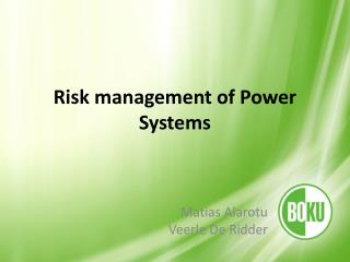 Risk management of Power Systems