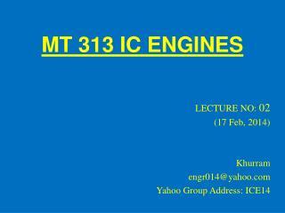 MT 313 IC ENGINES