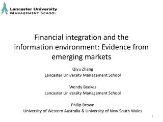 Financial integration and the information environment: Evidence from emerging markets