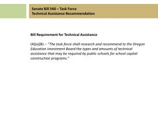 Bill Requirement for Technical Assistance