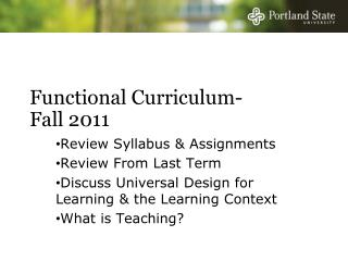 Functional Curriculum-  Fall 2011