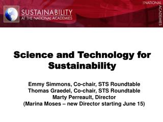 Science and Technology for Sustainability