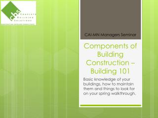 Components of Building Construction – Building 101