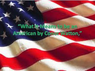 """What It Means to be an American by  Conor Watton ,"""