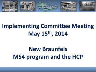 Implementing Committee Meeting May 15 th , 2014 New Braunfels MS4 program and the HCP