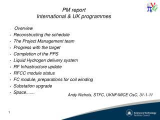 PM report International & UK programmes
