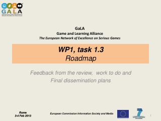 WP1, task 1.3 Roadmap