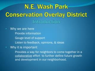 N.E. Wash Park  Conservation Overlay District Introduction
