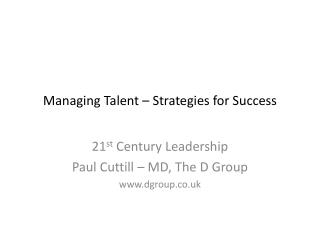 Managing Talent – Strategies for Success