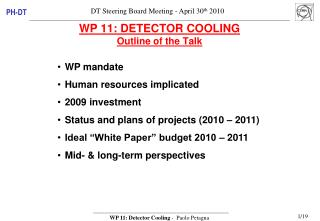 WP 11: DETECTOR COOLING  Outline of the Talk